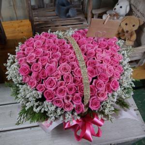 100송이분홍하트꽃바구니 상품이미지